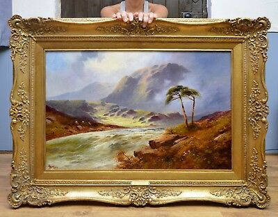 Large Fine Original Antique Oil Painting of Scottish Highlands River Landscape