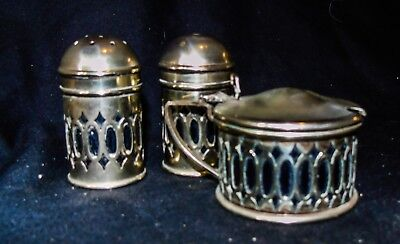 Vintage Silver plated Cruet Set with cobalt blue liners