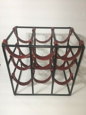 Arthur Umanoff Iron and Leather wine rack 9 Bottle Paul McCobb