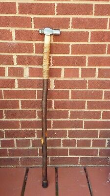 Natural Hickory Ball And Peen Hammer Cane
