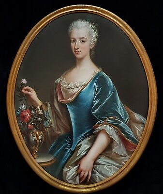 Large 18th Century French Portrait Lady Vase Flower Antique Oil Painting Old