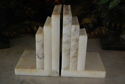 Beautiful Pair Of Italian Made Art Deco Style White Marble Books Shape Bookends