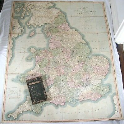1818 John Cary Six Sheet Map England and Wales Scotland Hand-Coloured dissected