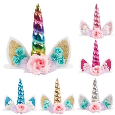 Unicorn Topper Cute Baby Birthday Cake Decor Horn Ear Flower Party Ornament Prop