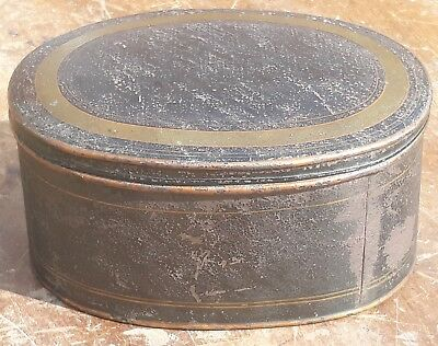 Original Antique Toleware Black / Gilt Painted Oval Tin Box