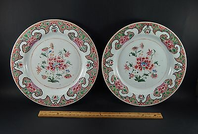 "Pair Antique Chinese Export Famille Rose Yongzheng Ruancai 9"" Plates Circa 1730"