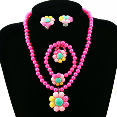 Flower Pearls Beads Kids Girls Earrings Bracelet Necklace Ring Jewelry Set Dream