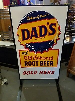 Antique Dad's Root Beer Standing Sign 2 Sided Totally Restored