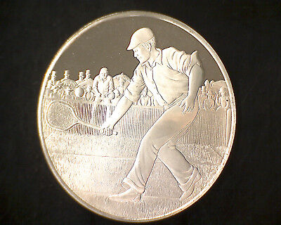 100Th Ann. Tennis Sterling Round Franklin Mint