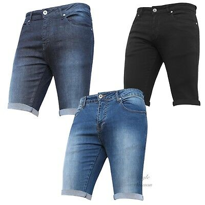 New Boys Stylish Denim Stretch Summer Adjustable Waist Shorts Holiday Beach Slim