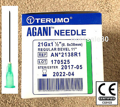 "Needle 21G 1.5"" Green Terumo Sterile Injection Hypodermic CE EU CE0123 Gym Cycle"