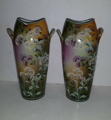 PAIR of Antique Nippon Porcelain MORIAGE Handled Hand Painted VASES 8.5""