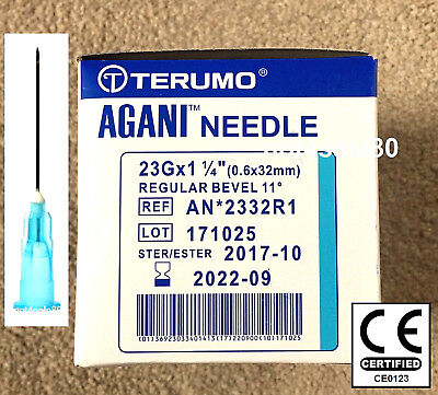 "Needle 23G 1.25"" Blue Terumo Sterile Injection Hypodermic CE EU CE0123 Gym Cycle"