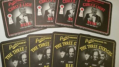 Three 3 Stooges Beer Coasters Set of 8 Curly's Light