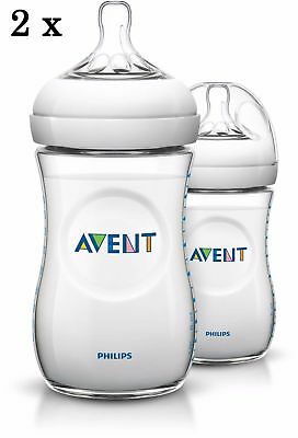 Philips Avent NATURAL 4oz / 125ml Twin Pack Baby Feeding Bottles New