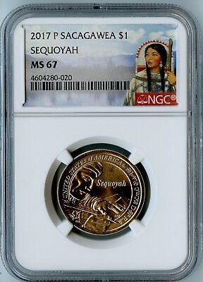 2017-P Ngc Ms67 Sequoyah Sacagawea Dollar $1! Only 8 Coins Higher At Ms68 By Ngc