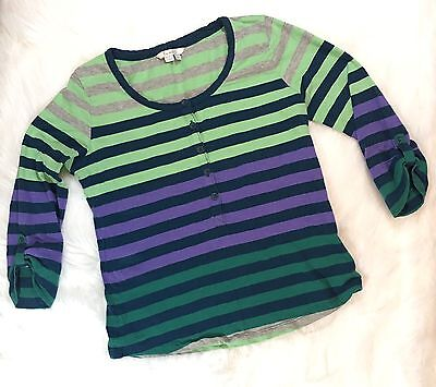 Boden Shirt Size 6 Multi Color Green Blue Purple Gray A6
