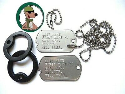 Notched Genuine Military Dog Tag Set Embossed Chains & Silencers Personalized b