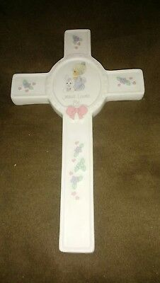 Vintage 1990's Precious Moments Collectible Girl's Porcelain Keepsake Cross
