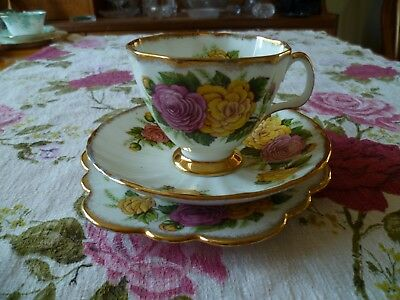Pretty Vintage China Trio Tea Cup Saucer Plate Imperial Pink Yellow Roses