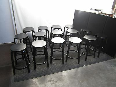 Danish Modern Alvar Aalto for Artek #64 black lacquered Stool 17 available