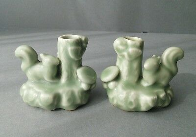 Chinese? Celadon Porcelain Squirrels Ornaments Bud Vases.