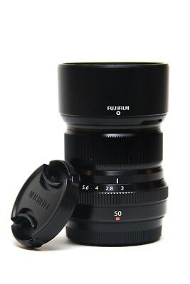 Fujifilm Fujinon XF 50mm F/2 R WR Lens (Black) with front and rear caps