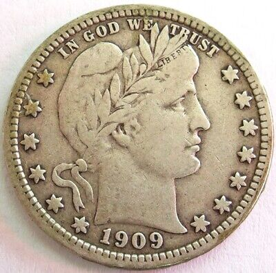 1909 Silver United States Barber Quarter Dollar Coin Very Fine Condition