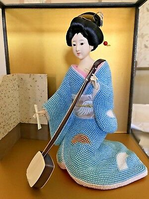 Vintage Japanese Geisha Asian Kimono Doll in Glass Case Display