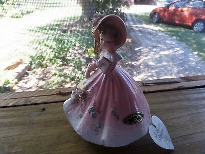 Vtg Musical Figurine By Josef Original Southern Bell Holding Bible Amazing Grace