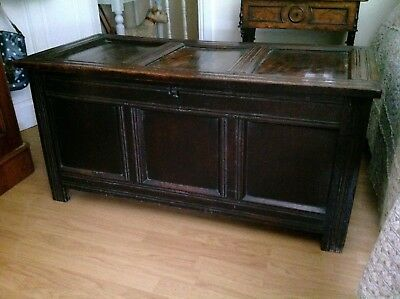 Antique oak coffer,country house blanket box,storage chest.window seat.
