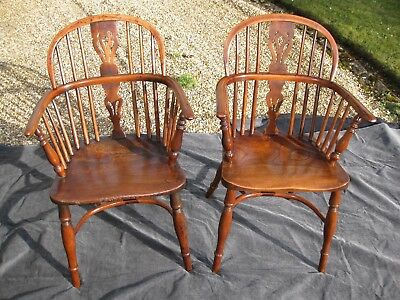 Matching Pair of Antique Windsor Chairs by George Nicholson