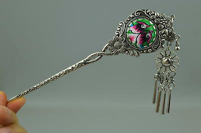 China Culture mbroidery mandarin duck Tibet Silver Flower  Noble Girl Hairpin