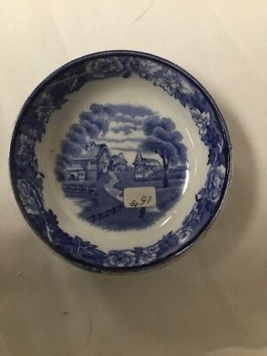 Wood And Sons Blue And  White English Scenery Open Salt Cellar Transferware
