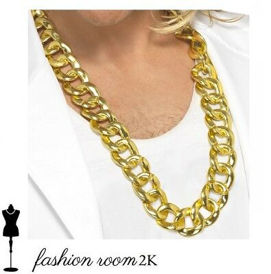 Rapper Gangster Fake Gold Chain Bling 80s Necklace Fancy Dress Accessory 90s New