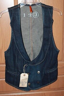 Earnest Sewn Double Breasted Rooney Denim Vest Size 3 NWT Deep V