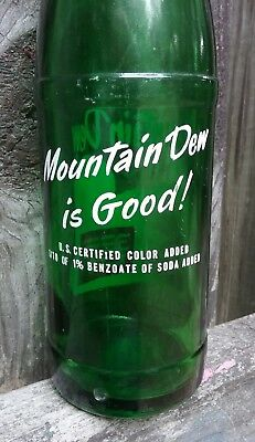 "Rare 1964 Mountain Dew Bottle  ""mountain Dew Is Good !"" Back Slogan Redhead 12Oz"