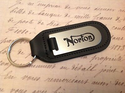 Norton Motor Bike Cycle Black Leather Key Ring Fob Etched Abd Infilled