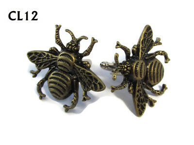 steampunk jewellery cufflinks bronze honey bumble bee apiarist royal jelly