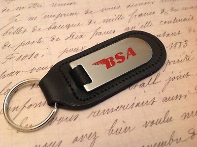 Bsa Motor Bike Cycle Black Leather Key Ring Fob Etched Abd Infilled