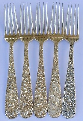 "Set Of 5-S. Kirk & Son Inc. Repousse Sterling Silver 7 1/4"" Dinner Forks"
