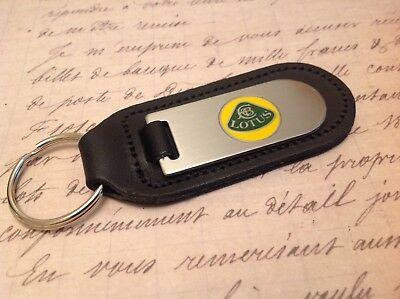 Lotus Black Leather Key Ring Fob Etched And Infilled Elise Exige Evora Esprite