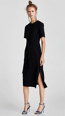 ❤️zara Woman Bnwt Black Sexy Must Have Knotted Midi Dress Size M❤️sold Out!