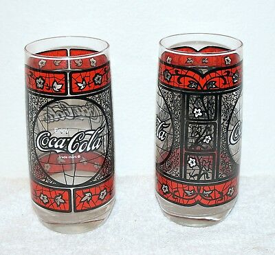 2 Vintage Coca-Cola Glasses w/Tiffany Stained Glass Black/Red Leaf Pattern NOS