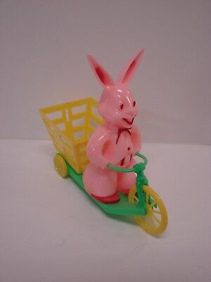 Rosbro Rosen Hard Plastic Easter Bunny Rabbit on Bicycle w/ Cart Candy Container