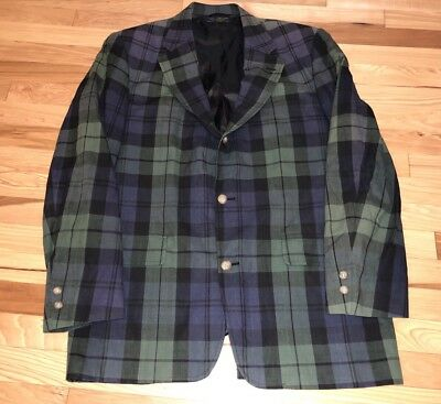 Vtg Brooks Brothers Cotton Window Plaid Check Men's Blazer Sport Coat 43L Tartan