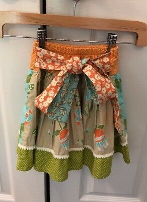 Persnickety Yellow Orange Green Turquoise Floral Super Twirly Skirt ~ Size 5 EUC