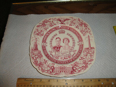 King George Vi & Queen Elizabeth Plate Commemorating Their Visit To The Usa 1939