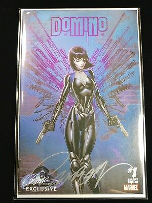 DOMINO #1 NM+ VARIANT D - J Scott Campbell Signed and Sealed with COA