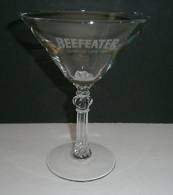 "Long Decorative Stem Beefeater London Martini Cocktail Glass 6"" Tall"